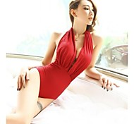 Women's Fashion Sexy Red Backless One Piece Swimwear Swimsuit Beachwear Bathing Suit