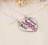 Eruner® 2015 new style broken heart 2 parts pendant necklace best friend necklace (2 pcs 1 set)