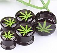 Acryl schwarze Schraube green leaf logo Ohrstöpsel Tunnelprofilen Expander Piercing Körperschmuck einen Satz von 2 12 mm