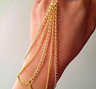 Eruner®Four Row Wave Chain Tassels Bracelet Bangle Slave Finger Ring Set Hand Harness