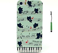 The Little Cats And The Musical Notes Pattern PC Hard Back Cover Case with Touch Pen for iPhone 5/5S