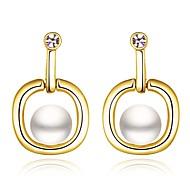 Klassiker pearl Drop goldenen vergoldeten Tropfenohrring (goldene) (1 Paar)