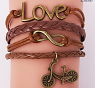 Eruner®Leather Bracelets Multilayer Alloy Love and Bicycle Charms Handmade Bracelet