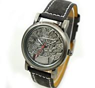 unisex rilievo mostrador do relógio de pulso de quartzo pu banda