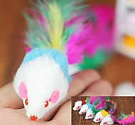 Lovely Plush Mouse Shaped Colourful Feather Tail Decorated Chewing Toy for Pet Cats(Random Colour)
