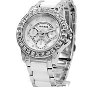 Mulher das senhoras liga mostrador redondo água pulseira de cerâmica quartzo resistente relógio analógico