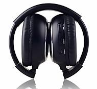 ir-2011D auriculares estéreo de infrarrojos inalámbrico plegable de 2 canales en-oído - negro + plata (2 x AAA)