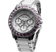 senhoras da mulher rodada de cerâmica branca pulseira de violeta cristal de quartzo relógio fw830s