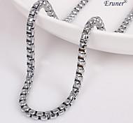 Eruner®Unisex 4MM Tank Chain Silver Chain Necklace NO.79