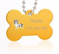forma personalizada óssea presente pet prata tag nome id com corrente para cães