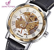 Men's Round Dial Leather Hollow Skeleton Mechanincal Wristwatch (Assorted Colors)