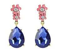 Cheap Wholesale Blue Rhinestone Hanging Drop Earrings