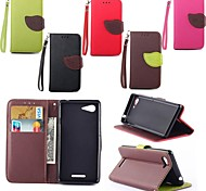 Leaves PU Leather Full Body Case with Card Slot, Stand and Strap for Sony Xperia E3 (Assorted Colors)