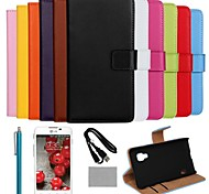 COCO FUN® Luxury Solid Color Genuine Leather Case with Film and Cable and Stylus for LG L5 II/E460/455 (Assorted Colors)