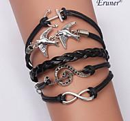 Eruner®Multilayer Notes&Birds Alloy Charms Handmade Leather Bracelets