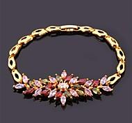 U7® Luxurious Chain Bracelet 18K Real Gold Plated Multicolor AAA+ Cubic Zirconia Bracelet Bangle Fashion Jewelry