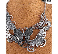 Miss ROSE®European and American Vintage Hollow Out Butterfly Pattern Alloy Necklace