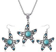 aretes collar de zafiro estrella de mar establecen