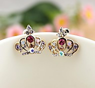 Colorful Diamond Crown Earrings