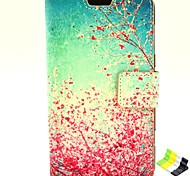 patrón de la flor del ciruelo de la PU cuero caso de cuerpo completo con soporte y soporte de teléfono para Nokia Lumia 625