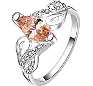 AAA Zircon Inlaid Copper Plating Colorful Fashion 925 Silver Ring