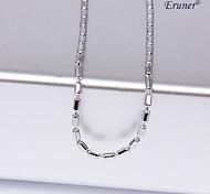 eruner®unisex 1mm cilíndrico de plata collar de cadena no.14
