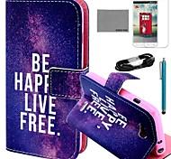 Coco Fun® patrón de vida libre de cuero de la PU caso de cuerpo completo con la película y el cable usb y el lápiz para lg l70