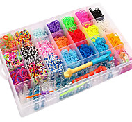 4200pcs Colorful DIY Rainbow Color Loom Style Silicone Band Bracelets 4200pcs Bands ,12 S-clips, 1Looms ,1Hook+1Box