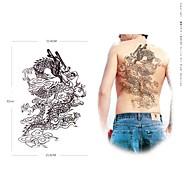 PC 1 patrón grande impermeable respaldo dragón negro pegatinas tatuaje