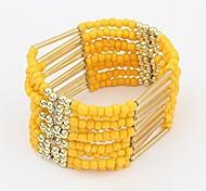 Bohemian Style Beads Elastic Strand Bracelets (1 pc, Yellow / Green / Purple / Multicolor)