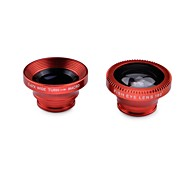 Universal 3-in-1 180' Fisheye Wide Angle + Macro Lens with Clip for Iphone / Cellphone / Tablet PC (Red)