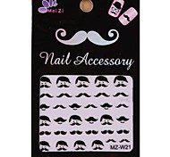 1PCS Cartoon Mustache Style Nail Art Stickers MZ Series MZ-W21