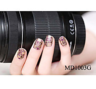 14PCS Fashion Glitter Powder Nail Art Stickers MD Series NO.1003G