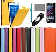 Coco fun® caso ultra-sólido e genuíno couro de aleta com filme e cabo USB e caneta para Sony Xperia z3 (cores sortidas)