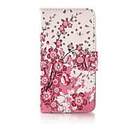 Fashion Rhinestone Painted Pink Prunus Serrulata PU Full Body Cases with Stand for Huawei P7