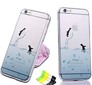 Ocean Series Penguin Pattern Soft Case and Phone Holder for iPhone 6 Plus