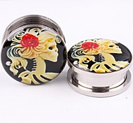 5mm Stainless Steel Screw Sexy Skull Girl Logo Ear Plugs Tunnel Gauges Expander Piercing Body Jewelry A Set Of 2