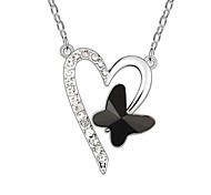 Love Butterfly Short Necklace Plated With 18K True Platinum Jet Black Crystallized Austrian Crystal Stones