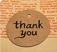50pcs Thank You DIY Kraft Bonbonniere Gift Paper Hang Tags Lables Bakery Packaging Favors Wedding Cards
