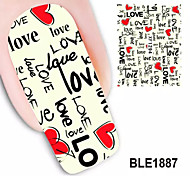 1PCS Love Design Watermark Nail Art Stickers BLE1887