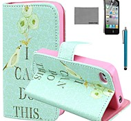 COCO FUN® Green Bird Pattern PU Leather Case with Screen Protector and Stylus for iPhone 4/4S