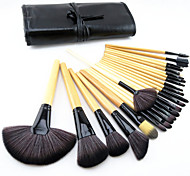 24pcs Pony Hair Makeup Brushes set Professional Wood Handle Burlywood blush/foundation/powder/concealer brush/ shadow/eyeliner/lip brush cosmetic kit