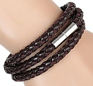 Braided Rope Three Laps Magnet Buckle Leather Bracelet (3 Colors)