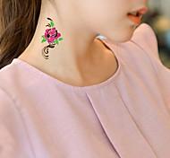 1Pc  Waterproof   Arab Fluorescent Green Numbers Golden Heart-Shaped Pendant Series Pattern  Tattoo Sticker For Body Art