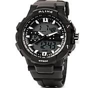 esporte ao ar livre rodada de plástico de quartzo impermeável relógio dos homens acrílica digital de pulso (preto)