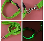 Fish Screen Sytles Nylon Led Collar and Leashes Set for Dogs and Pets (Assorted colors,Size)
