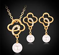 u7®four hoja del trébol pendientes de la gota colgante de collar de 18 quilates chapado en oro verdadero diamante de imitación de la joyería de moda