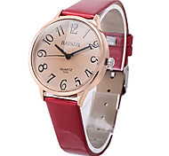 Women's Casual Big Size Number Leather Guartz Wrist Watch(Assorted Colors)