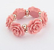 Vintage Sweet Rose Elastic Bracelets (1 pc, Pink / Blue / Black)