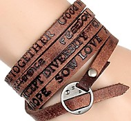 Europe, The United States And Africa Mainstream Embossed Letters Five Laps Wrapped Leather Bracelet